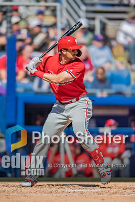 6 March 2019: Philadelphia Phillies outfielder Lane Adams at bat during a Spring Training game against the Toronto Blue Jays at Dunedin Stadium in Dunedin, Florida. The Blue Jays defeated the Phillies 9-7 in Grapefruit League play. Mandatory Credit: Ed Wolfstein Photo *** RAW (NEF) Image File Available ***