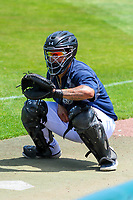 Kane County Cougars catcher Jose Herrera (10) warms up in the bullpen prior to a Midwest League game against the Quad Cities River Bandits on July 1, 2018 at Northwestern Medicine Field in Geneva, Illinois. Quad Cities defeated Kane County 3-2. (Brad Krause/Four Seam Images)