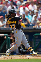 Pittsburgh Pirates  outfielder Andrew McCutchen #22 swings during the Major League Baseball game against the Philadelphia Phillies on June 28, 2012 at Citizens Bank Park in Philadelphia, Pennsylvania. The Pirates defeated the Phillies 5-4. (Andrew Woolley/Four Seam Images).