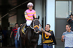 August 2, 2015. Pants on Fire, Paco Lopez up, heads to the post parade for the Grade II Monmouth Cup Stakes, one and 1/16 miles for three year olds and upward at Monmouth Park in Oceanport, NJ.  Joan Fairman Kanes/ESW/CSM