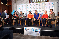Pictured L-R: Camelot representative, Jule Saunders, Jean Cairns, Louise Ward, Sian Jones, Doreen Thompson and Julie Amphlett. Wednesday 08 November 2017<br />Re: Presentation of hospital catering syndicate win £25m in Euromillions Jackpot at Hensol Castle, south Wales, UK. Julie Saunders, 56, Doreen Thompson, 56, Louise Ward, 37, Jean Cairns, 73, SIan Jones, 54 and Julie Amphlett, 50 all work as catering staff for Neath Port Talbot Hospital in south Wales.