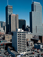 Montreal (Qc) CANADA - 1999 File Photo -<br /> High rise buildings  downtown Montreal.