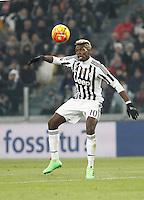 Juventus' Paul Pogba controls the ball during the Italian Serie A football match between Juventus and Roma at Juventus Stadium.
