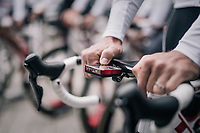 "setting the SRM power meter before rolling out<br /> <br /> Team Trek-Segafredo preparing for a coffee/training-ride 1 day before the start of the 104th Tour de France 2017 <br /> ""Le Grand Départ"" in Düsseldorf/Germany"