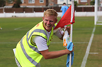 A Ramsgate steward wipes down the corner flag at half-time during Ramsgate vs Folkestone Invicta, Friendly Match Football at Southwood Stadium on 1st August 2020