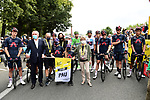 Tribute to the late Nicolas Portal before the start of Stage 9 with Francois Bayrou Mayor of Pau and Team Ineos Grenadiers who Nicolas worked for as a D.S. for many years, Tour de France 2020, running 153km from Pau to Laruns, France. 6th September 2020. <br /> Picture: ASO/Alex Broadway   Cyclefile<br /> All photos usage must carry mandatory copyright credit (© Cyclefile   ASO/Alex Broadway)