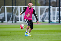 Wednesday  27 April 2016<br /> Pictured: Angel Rangel of Swansea City  in action during training <br /> Re: Swansea City Training Session at the Fairwood Ground, Swansea, Wales, UK