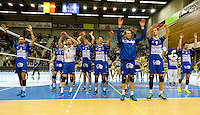 20161228 - ROESELARE ,  BELGIUM : Roeselare pictured celebrating after their win and qualifying for the Cupfinal in the second semi final in the Belgian Volley Cup between Knack Volley Roeselare and Lindemans Aalst in Roeselare , Belgium , Wednesday 28 th December 2016 . PHOTO SPORTPIX.BE   DAVID CATRY