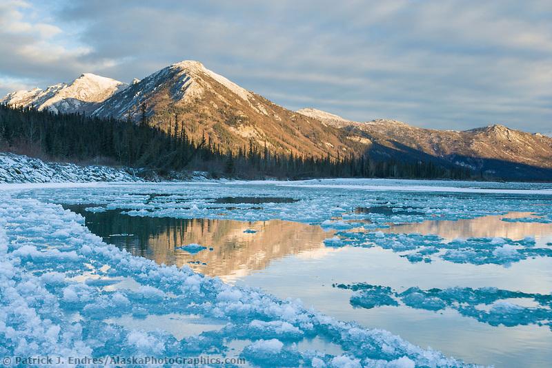 Pancake ice forming along the Koyukuk River at freeze up in october, Brooks Range, Alaska