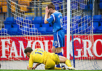 St Johnstone v Hibs...02.10.10  .Alan Maybury holds his head in his hands after blasting a shot over the bar.Picture by Graeme Hart..Copyright Perthshire Picture Agency.Tel: 01738 623350  Mobile: 07990 594431