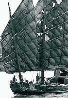 Segelschiff in Schanghai, China 1980