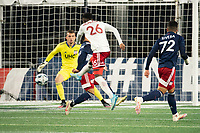 FOXBOROUGH, MA - OCTOBER 16: Edwin Munjoma #26 of North Texas SC takes a shot on goal during a game between North Texas SC and New England Revolution II at Gillette Stadium on October 16, 2020 in Foxborough, Massachusetts.