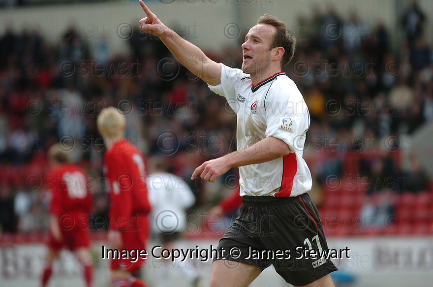 20040327     Copyright Pic : James Stewart.File Name : jspa05_clyde_v_stmirren.IAN HARTY CELEBRATES SCORING CLYDE'S FIRST....James Stewart Photo Agency 19 Carronlea Drive, Falkirk. FK2 8DN      Vat Reg No. 607 6932 25.Office     : +44 (0)1324 570906     .Mobile  : +44 (0)7721 416997.Fax         :  +44 (0)1324 570906.E-mail  :  jim@jspa.co.uk.If you require further information then contact Jim Stewart on any of the numbers above.........