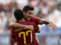 Football, Serie A: AS Roma - Sassuolo, Olympic stadium, Rome, September 15, 2019. <br /> Roma's Henrix Mikhitaryan (l) celebrates after scoring with his teammate Lorenzo Pellegrini (r) during the Italian Serie A football match between Roma and Sassuolo at Olympic stadium in Rome, on September 15, 2019.<br /> UPDATE IMAGES PRESS/Isabella Bonotto