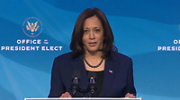 """United States Vice President-elect Kamala Harris makes remarks after US President-elect Joe Biden made remarks introducing """"key members of his economic and jobs team"""" from the Queen Theatre in Wilmington, Delaware on Friday, January 8, 2021. <br /> Credit: Biden Transition TV via CNP /MediaPunch<br /> CAP/MPI/RS<br /> ©RS/MPI/Capital Pictures"""