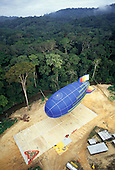 Makande, Gabon. The dirigible landing at Base Camp with the Canopy Sledge with samples of vegetation on the landing pad.