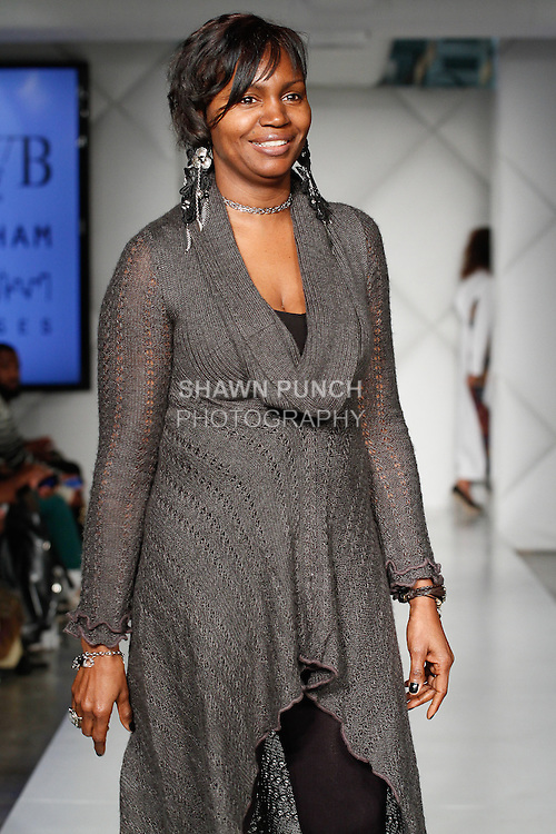 """Fashion designer Marcella Jones-Penn, walks runway at the close of her Marcella Co Fall 2014 """"Rustic Sophistication"""" collection fashion show, during Fashion Week Brooklyn Fall Winter 2014, day two at Industry City, on March 14, 2014."""