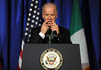 NEW YORK, NY - MARCH 21: Vice President Joe Biden speaks during the Irish America Hall of Fame's annual luncheon; Grand Salon, JW Marriott Essex House New York hotel, 160 Central Park South. on March 21, 2013 in New York City<br /> <br /> People:  Vice President Joe Biden<br /> <br /> Transmission Ref:  MNC1<br /> <br /> Must call if interested<br /> Michael Storms<br /> Storms Media Group Inc.<br /> 305-632-3400 - Cell<br /> 305-513-5783 - Fax<br /> MikeStorm@aol.com