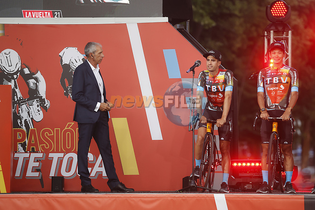 Mikel Landa (ESP) team leader Bahrain Victorious on stage at the Team Presentation before La Vuelta d'Espana 2021 held in Burgos city centre, Spain. 12th August 2021.    <br /> Picture: Luis Angel Gomez/Photogomezsport | Cyclefile<br /> <br /> All photos usage must carry mandatory copyright credit (© Cyclefile | Luis Angel Gomez/Photogomezsport)