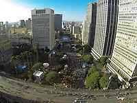 SAO PAULO, SP, 13-07-2014, FAN FEST. Fotografia aerea da Fan Fest de São Paulo, que fica no Vale do Anhagabau, região central de Sao Paulo, durante a final entre Alemanha x Argentina, valida pela final da Copa 2014.          Luiz Guarnieri/ Brazil Photo Press.