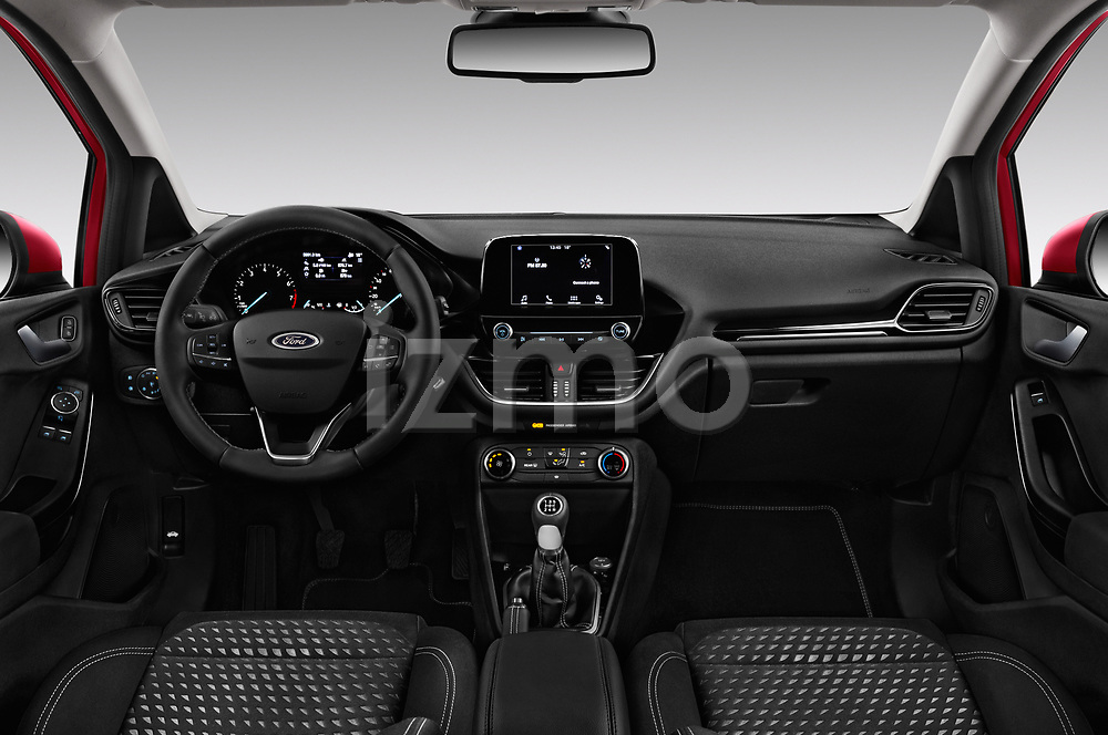 Stock photo of straight dashboard view of a 2017 Ford Fiesta Titanium 3 Door Hatchback