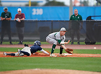Venice Indians first baseman Aidan Corn (16) fields a throw as Ethan Contreras (4) dives back to the bag during the IMG National Classic on March 29, 2021 at IMG Academy in Bradenton, Florida.  (Mike Janes/Four Seam Images)