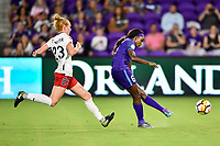 Orlando, FL - Saturday July 07, 2018: Tori Huster, Chioma Ubagagu during the first half of a regular season National Women's Soccer League (NWSL) match between the Orlando Pride and the Washington Spirit at Orlando City Stadium.
