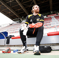 Photo: Richard Lane/Richard Lane Photography. Wasps rugby team and supporters travel to Toulon for the RC Toulon v Wasps.  European Rugby Champions Cup Quarter Final. 04/04/2015. Andy Goode prepares for kicking practice.