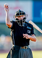 16 July 2017: Umpire Evin Johnson works home plate during a minor league baseball game between the Auburn Doubledays and the Vermont Lake Monsters at Centennial Field in Burlington, Vermont. The Monsters defeated the Doubledays 6-3 in NY Penn League action. Mandatory Credit: Ed Wolfstein Photo *** RAW (NEF) Image File Available ***