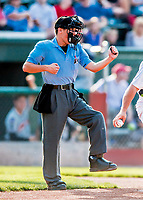 20 August 2017: Umpire Roberto Pattison works home plate, calling a third strike during a game between the Vermont Lake Monsters and the Connecticut Tigers at Centennial Field in Burlington, Vermont. The Lake Monsters rallied to edge out the Tigers 6-5 in 13 innings of NY Penn League action.  Mandatory Credit: Ed Wolfstein Photo *** RAW (NEF) Image File Available ***