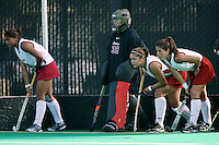 6 November 2007: Stanford Cardinal Camille Gandhi, Madison Bell, Bailey Richardson, and Hillary Braun during Stanford's 1-0 win against the Lock Haven Lady Eagles in an NCAA play-in game to advance to the NCAA tournament at the Varsity Field Hockey Turf in Stanford, CA.