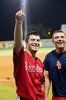Stony Brook Seawolves designated hitter Kevin Krause #2 smiles after the NCAA Super Regional baseball game against LSU on June 10, 2012 at Alex Box Stadium in Baton Rouge, Louisiana. Stony Brook defeated LSU 7-2 to advance to the College World Series. (Andrew Woolley/Four Seam Images)