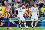 Marco Asensio Willemsen (r) of Real Madrid fights for the ball with Antonio Latorre Grueso, Lato, of Valencia CF during their La Liga 2017-18 match between Real Madrid and Valencia CF at the Estadio Santiago Bernabeu on 27 August 2017 in Madrid, Spain. Photo by Diego Gonzalez / Power Sport Images