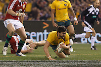 MELBOURNE, 29 JUNE 2013 - Adam ASHLEY-COOPER of the Wallabies scores a try during the Second Test match between the Australian Wallabies and the British & Irish Lions at Etihad Stadium on 29 June 2013 in Melbourne, Australia. (Photo Sydney Low / sydlow.com)