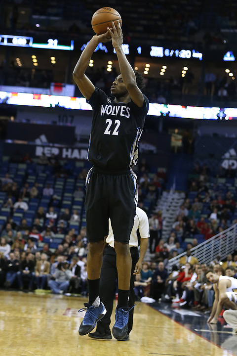 Minnesota Timberwolves guard Andrew Wiggins (22) shoots the ball during the first half of an NBA basketball game Tuesday, Jan. 19, 2016, in New Orleans. (AP Photo/Jonathan Bachman)