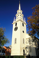 white church, Newport, Rhode Island, RI, Trinity Church in Newport in the autumn.