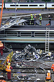 Rescue workers at the site of the Paddington rail crash, close to Ladbroke Grove, October 1999
