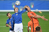 Luuk De Jong of Netherlands and Federico Chiesa of Italy during the Uefa Nation League Group Stage A1 football match between Italy and Netherlands at Atleti azzurri d Italia Stadium in Bergamo (Italy), October, 14, 2020. Photo Andrea Staccioli / Insidefoto