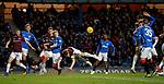 03.04.2019 Rangers v Hearts: Christophe Berra clears from Ross McCrorie