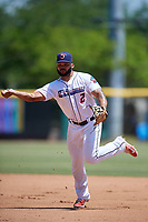 Jacksonville Jumbo Shrimp Justin Twine (2) throws to first base during a Southern League game against the Tennessee Smokies on April 29, 2019 at Baseball Grounds of Jacksonville in Jacksonville, Florida.  Tennessee defeated Jacksonville 4-1.  (Mike Janes/Four Seam Images)