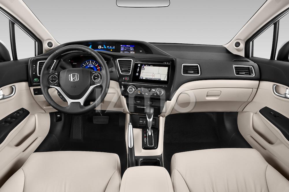 Stock photo of straight dashboard view of a 2015 Honda Civic Sedan NGV 2 Door  Dashboard