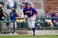 LSU Tigers outfielder Raph Rhymes (4) heads home from third base against the Texas A&M Aggies in the NCAA Southeastern Conference baseball game on May 10, 2013 at Blue Bell Park in College Station, Texas. LSU defeated Texas A&M 7-4. (Andrew Woolley/Four Seam Images).