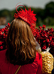 SARATOGA SPRINGS, NY - AUGUST 25: A woman dresses in all red on Travers Stakes Day at Saratoga Race Course on August 25, 2018 in Saratoga Springs, New York. (Photo by Carson Dennis/Eclipse Sportswire/Getty Images)