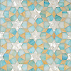 Medina, jewel glass mosaic shown in Aquamarine, Shell, Agate, is part of the Miraflores collection by Paul Schatz for New Ravenna.