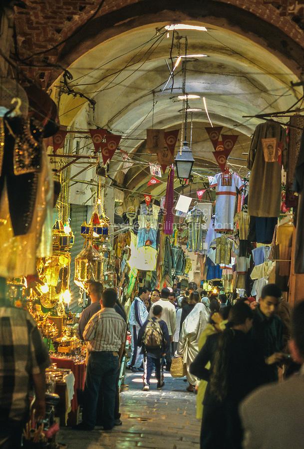 Tunisia.  Tunis Medina.  Souk.  Street Scene.  Vaulted Passageway.