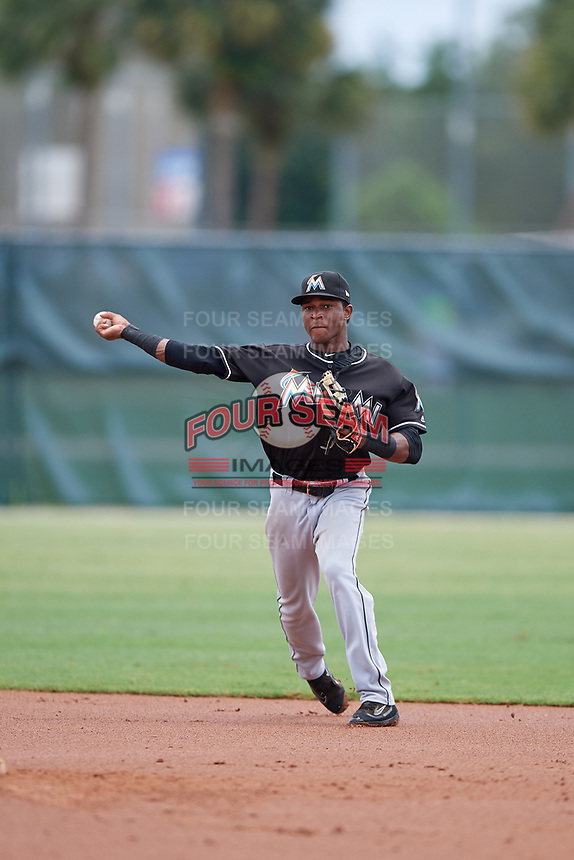 GCL Marlins shortstop Ronal Reynoso (3) throws to first base during the second game of a doubleheader against the GCL Nationals on July 23, 2017 at Roger Dean Stadium Complex in Jupiter, Florida.  GCL Nationals defeated the GCL Marlins 1-0.  (Mike Janes/Four Seam Images)