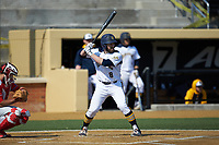 Ryan Nelson (8) of the Quinnipiac Bobcats at bat against the Radford Highlanders at David F. Couch Ballpark on March 4, 2017 in Winston-Salem, North Carolina. The Highlanders defeated the Bobcats 4-0. (Brian Westerholt/Four Seam Images)