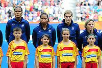 Fifa Women's World Cup Germany 2011 : Zweden - France Frankrijk at Sinsheim World Cup stadium : Wendie Renard , Laura Georges , Corine Franco en Sonia Bompastor.foto DAVID CATRY / Vrouwenteam.be