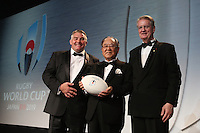 LONDON, ENGLAND - NOVEMBER 01:  Fujio Mitarai (R), President of the RWC 2019 organizing committee receives the official handover from (L) the President of the RFU during the World Rugby Awards 2015 at Battersea Evolution on November 1, 2015 in London, England.  (Photo: World Rugby)