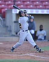 Burlington Bees designated hitter Michael Stefanic (12) swings at a pitch against the Cedar Rapids Kernels at Veterans Memorial Stadium on April 13, 2019 in Cedar Rapids, Iowa.  Kernels won 2-1.  (Dennis Hubbard/Four Seam Images)